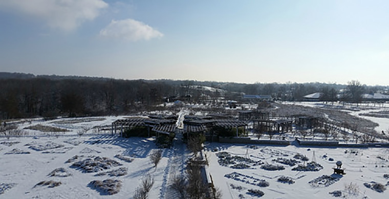 View of the Heartland Harvest Garden from atop the Missouri Barn Silo